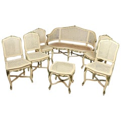 18th Century Italian Louis XV Lacquered Living Room Sets Seven Pieces