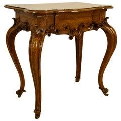 18th Century, Italian Louis XV Solid Walnut Wood Console Table