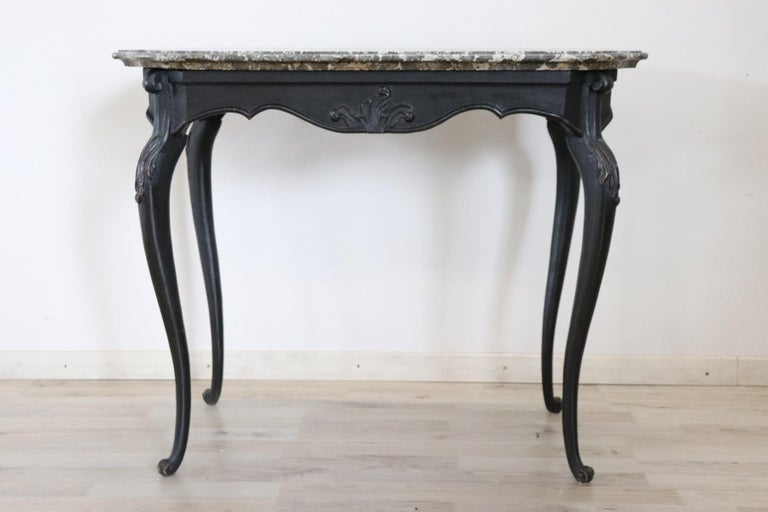 18th Century Italian Louis XV Walnut Carved Center Hall Table with Marble Top For Sale 12