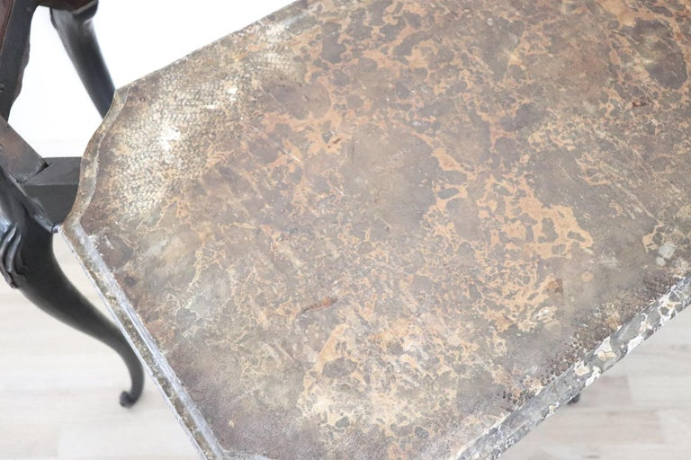 18th Century Italian Louis XV Walnut Carved Center Hall Table with Marble Top For Sale 15