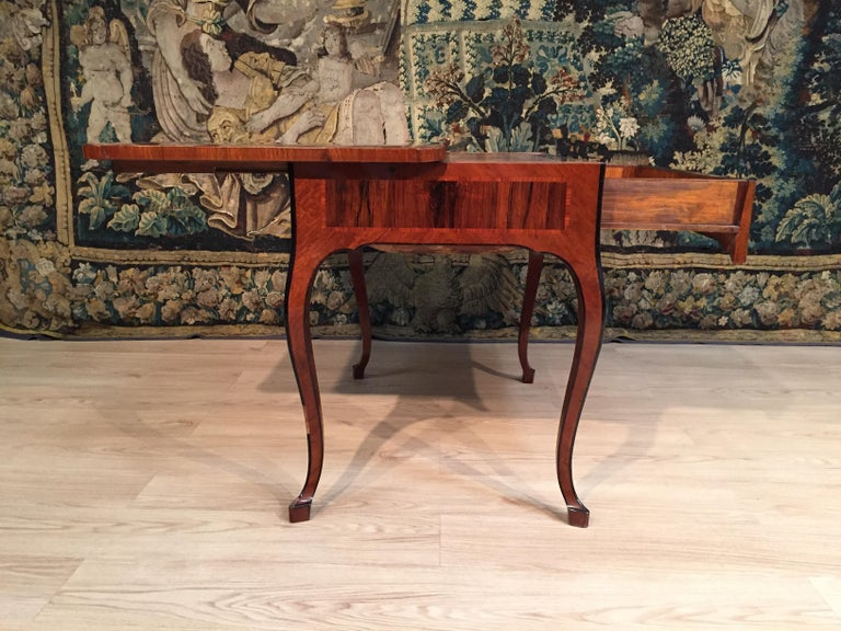 Hand-Carved 18th Century, Italian Louis XV Wood Center Desk For Sale