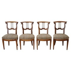 18th Century Italian Louis XVI Hand Carved Cherrywood Four Antique Chairs