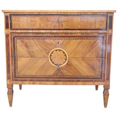 18th Century Italian Louis XVI Inlay Wood Chest of Drawers