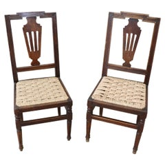 18th Century Italian Louis XVI Walnut Wood Pair of Chairs