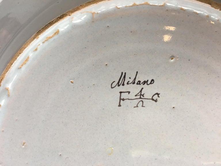 Rococo 18th Century Italian Maiolica Dish Milano, circa 1770 For Sale