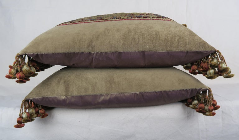 18th Century Italian Metallic Embroidered Apostle Pillows by Melissa Levinson In Distressed Condition For Sale In Los Angeles, CA