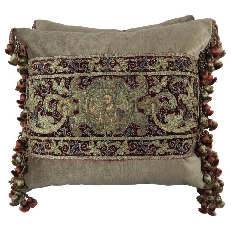 18th Century Italian Metallic Embroidered Apostle Pillows by Melissa Levinson For Sale