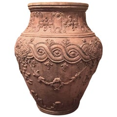 18th Century Italian Naples Outdoor Carvin Terracotta Antique Jar