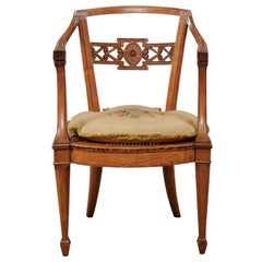 18th Century Italian Neoclassical Arm Chair in Fruitwood with Cane Seat