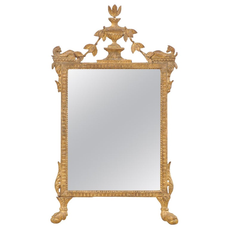 18th Century Italian Neoclassical Carved & Giltwood Mirror with Raised Urn Crest For Sale