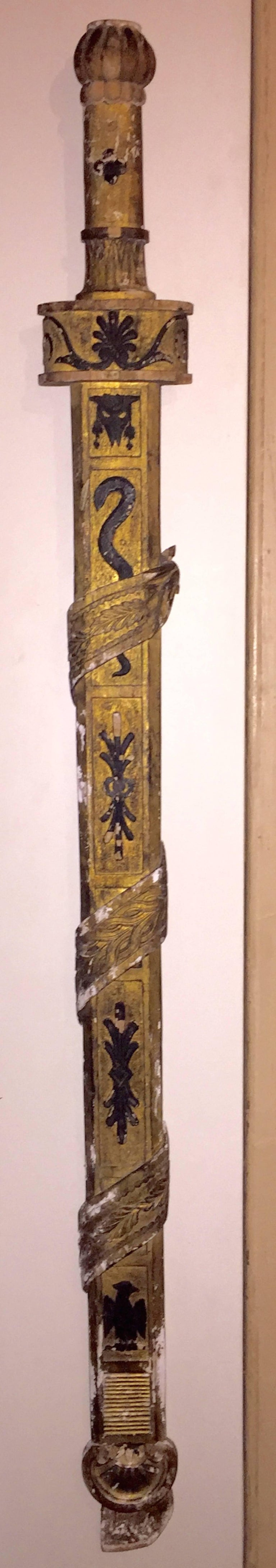 18th Century Italian Neoclassical Gilt and Painted Decorative Wood Sword For Sale 4
