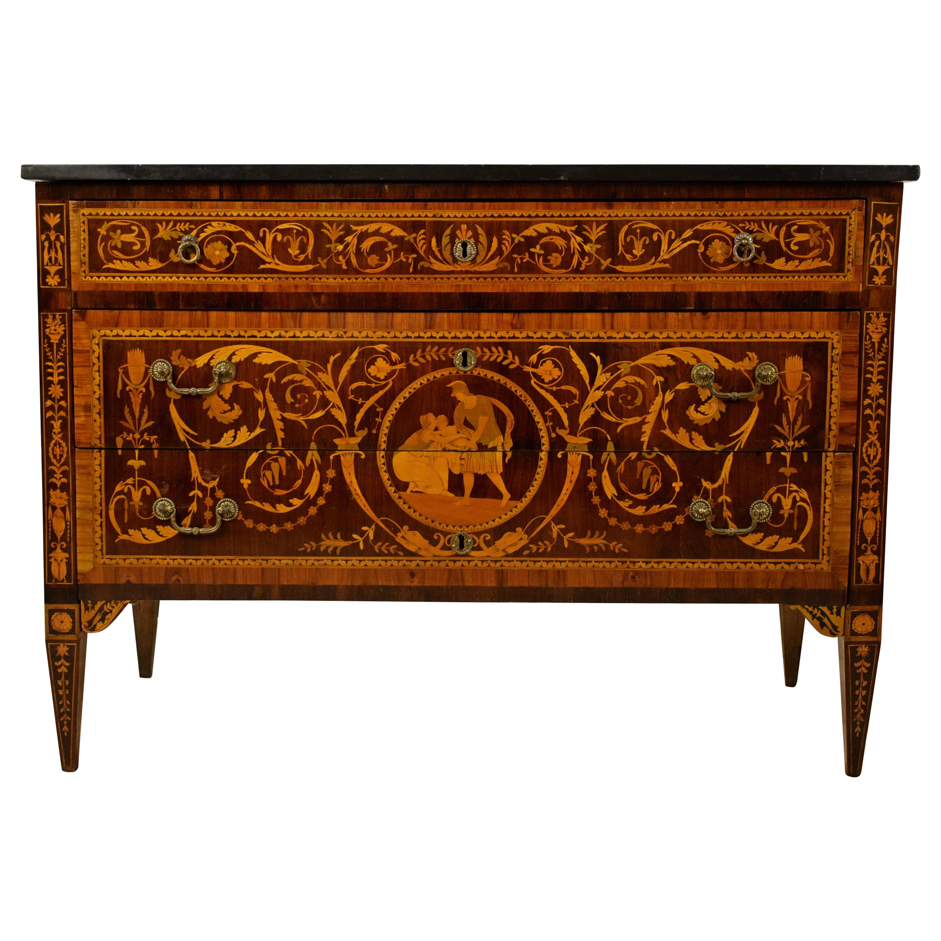 18th Century, Italian Neoclassical Inlaid Chest of Drawers, Marble Top