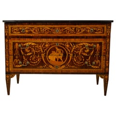 18th Century, Italian Neoclassical Inlaid Rosewood Chest of Drawers, Marble Top