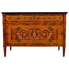 18th Century, Italian Neoclassical Inlaid Chest of Drawers with Marble