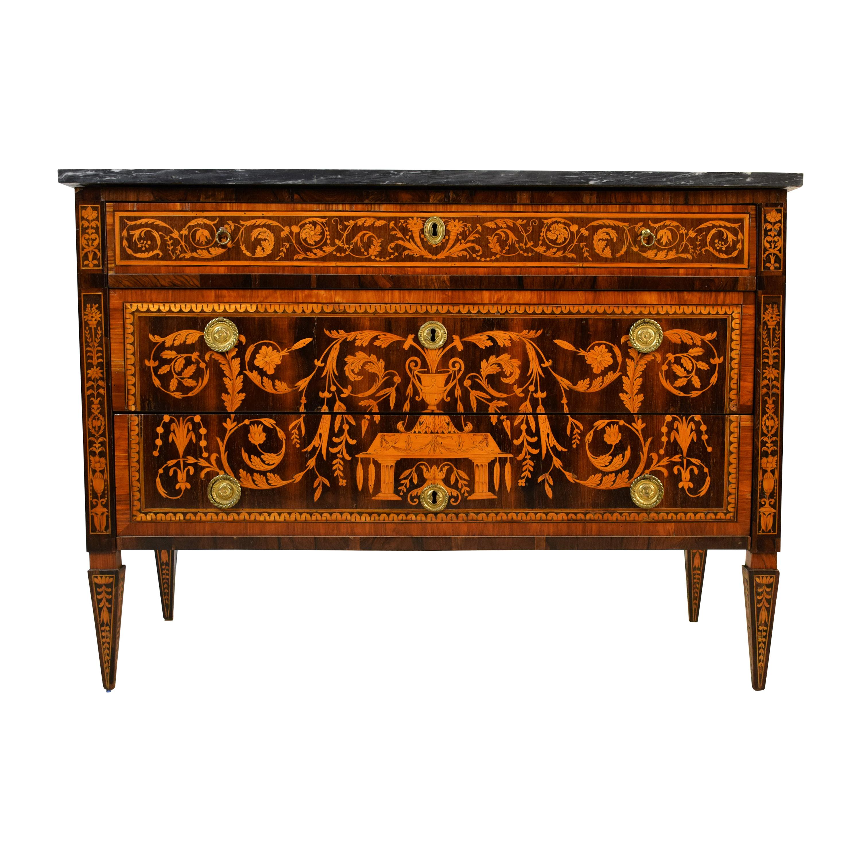 18th Century, Italian Neoclassical Inlaid Wood Chest of Drawers