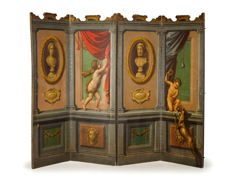 18th Century Italian Neoclassical Oil on Canvas Screen with Trompe L'œil In Good Condition For Sale In , IT