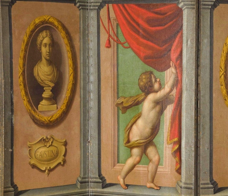 18th Century Italian Neoclassical Oil on Canvas Screen with Trompe L'œil For Sale 2