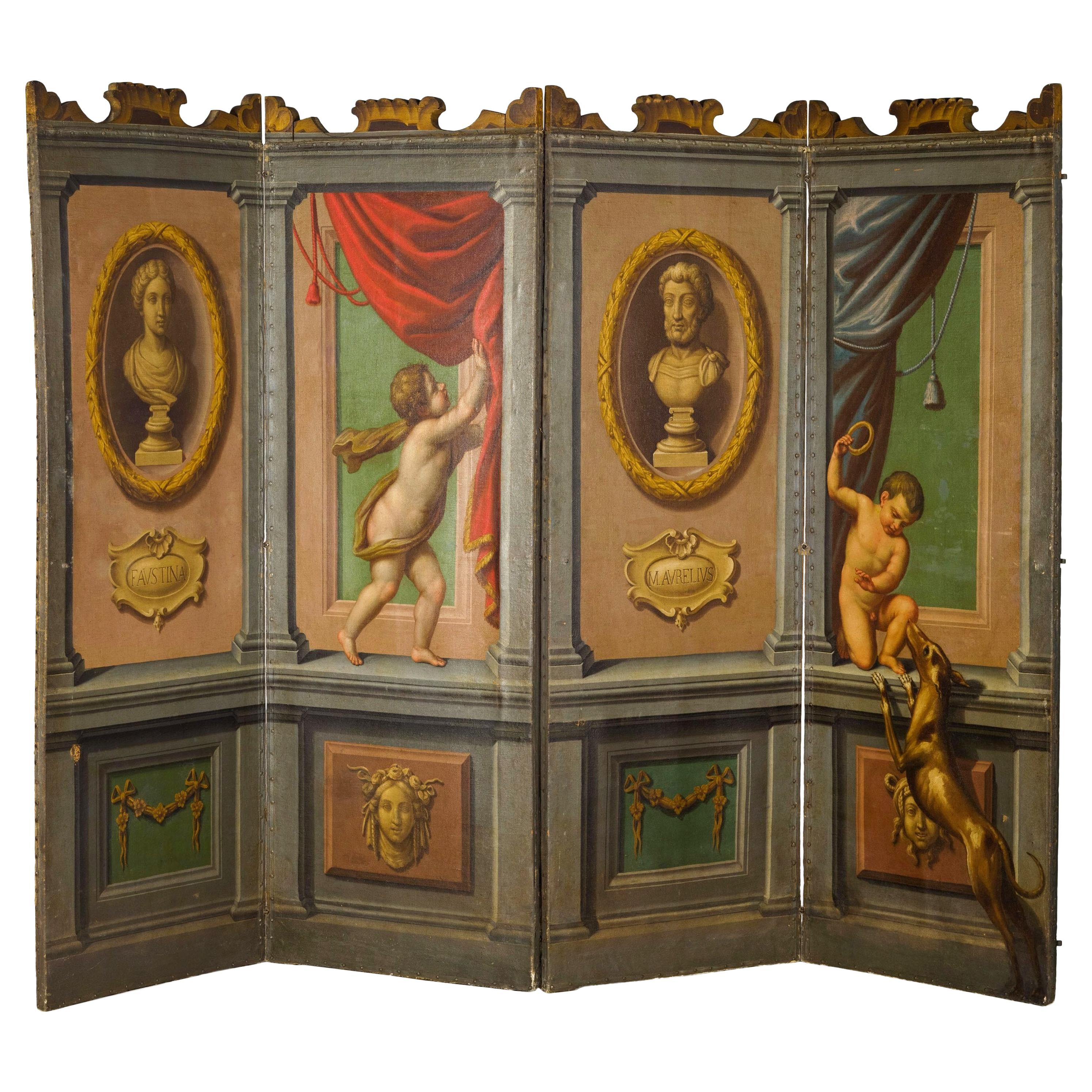 18th Century Italian Neoclassical Oil on Canvas Screen with Trompe L'œil