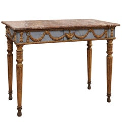 18th Century Italian Neoclassical Painted and Parcel-Gilt Center/Console Table