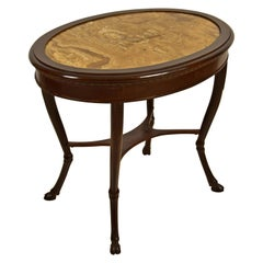 18th Century, Italian Neoclassical Wood Coffee Table with Alabaster Oval Top