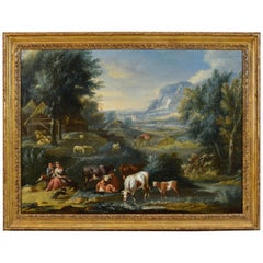 18th Century, Italian Oil on Canvas Archaic Landscape with Figures and Pastures