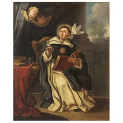 18th Century Italian Oil on Canvas Painting Roman School of Saint Thomas Aquinas