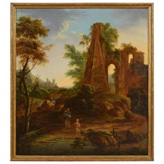 18th Century, Italian Oil on Canvas Painting with Landscape with Ruins