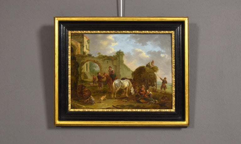 18th Century Italian Oil on Panel Bambocciata by Michelangelo Cerquozzi Follower For Sale 7