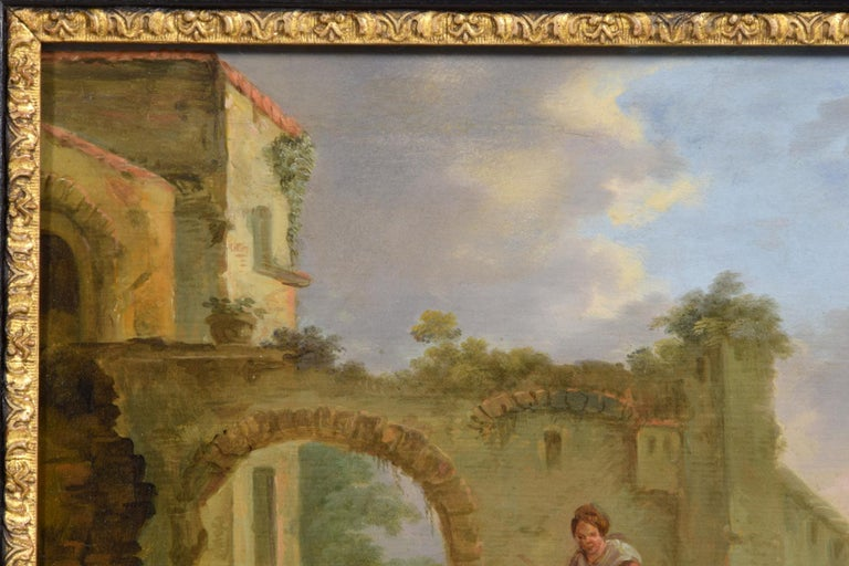 18th Century and Earlier 18th Century Italian Oil on Panel Bambocciata by Michelangelo Cerquozzi Follower For Sale