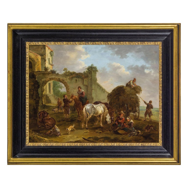 18th Century Italian Oil on Panel Bambocciata by Michelangelo Cerquozzi Follower For Sale