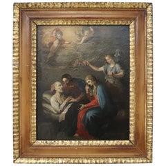 18th Century Italian Oil Painting on Canvas Death of Saint Joseph