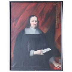18th Century Italian Oil Painting on Canvas Portrait of a Priest