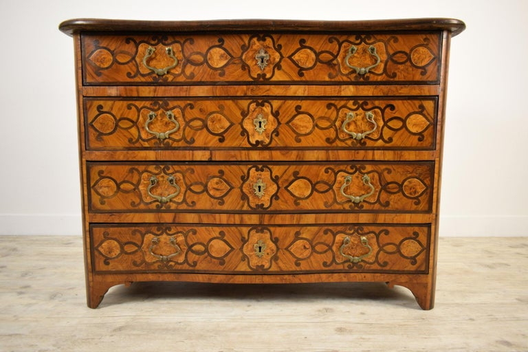 18th Century, Italian Olive Wood Paved and Inlaid Cest of Drawers For Sale 8
