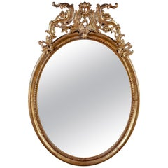 18th Century Italian Oval Shape Giltwood Mirror