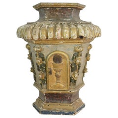 18th Century Italian Painted Hand Carved Baroque Tabernacle