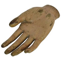 18th Century Italian Painted Wooden Hand of a Saint