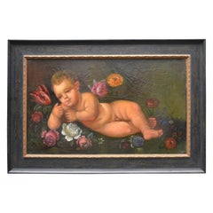 18th Century Italian Painting of a Reclining Nude Putto