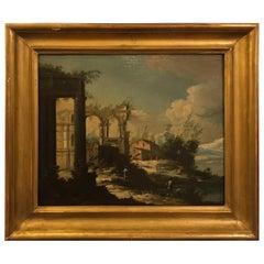 18th Century Italian Painting of Italian Ruins, School of Ballluno