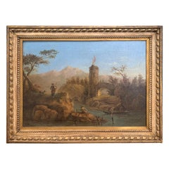 18th Century Italian Painting of Men at the River, Giltwood Frame