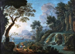 18th Century Italian Huge Oil Painting Figures in Classical Waterfall Landscape