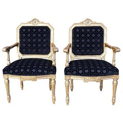 18th Century Black Italian Pair of Antique Giltwood Armchairs Chairs