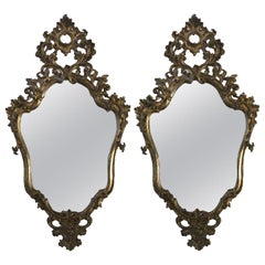 18th Century Italian Pair of Louis XV Mirrors Carved Mecca with Mercury Glasses
