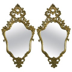 18th Century Pair of Italian Louis XV Mirrors Mecca Finish with Mercury Glasses