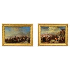 18th Century, Italian Pair of Oil on Canvas Paintings by Francesco Simonini
