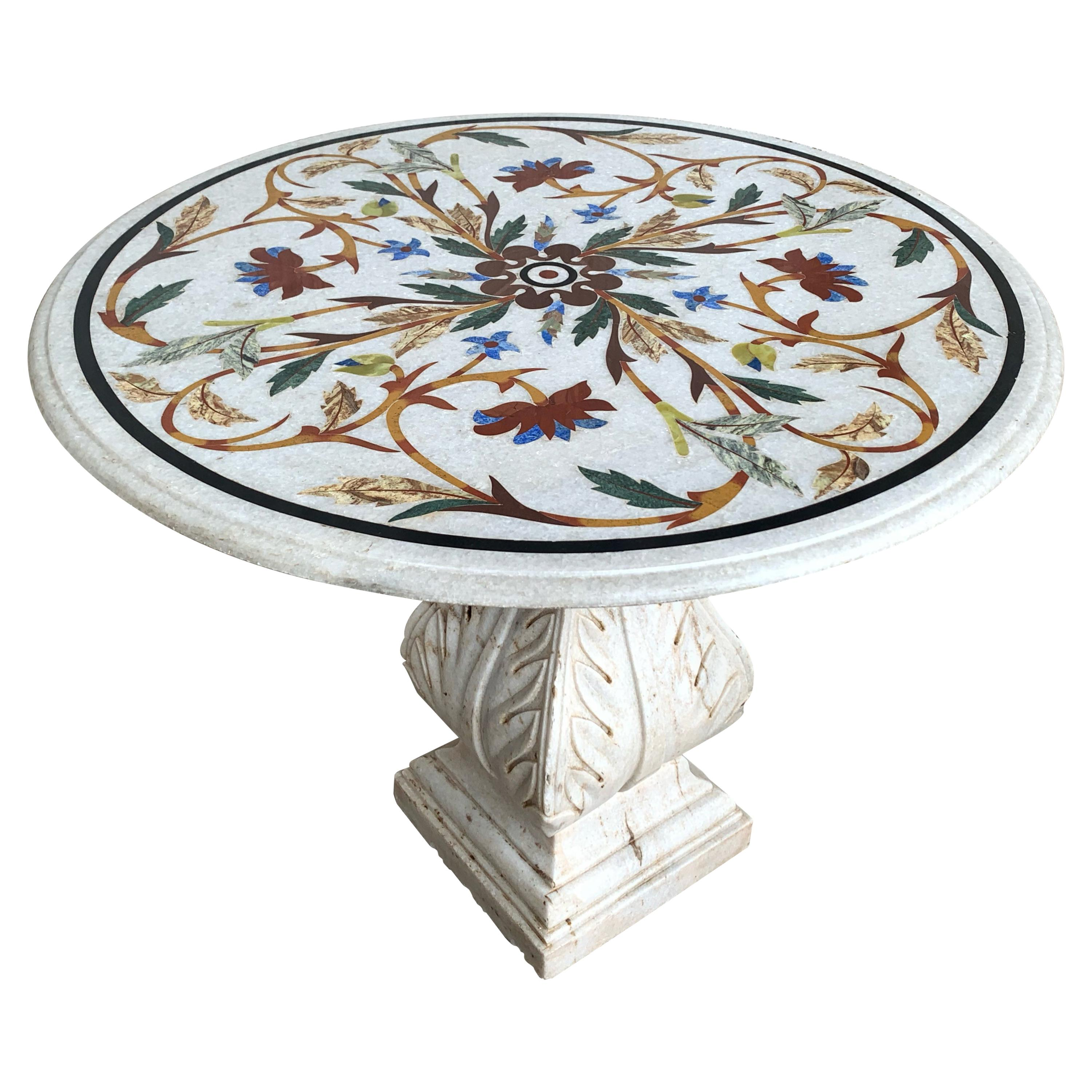 18th Century Italian Pietra Dura Marble-Top Table with Carved Carrara Pedestal