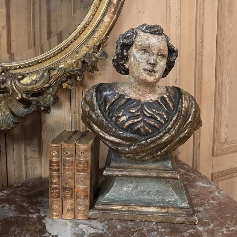 Renaissance 18th Century Italian Polychrome Bust of Saint For Sale