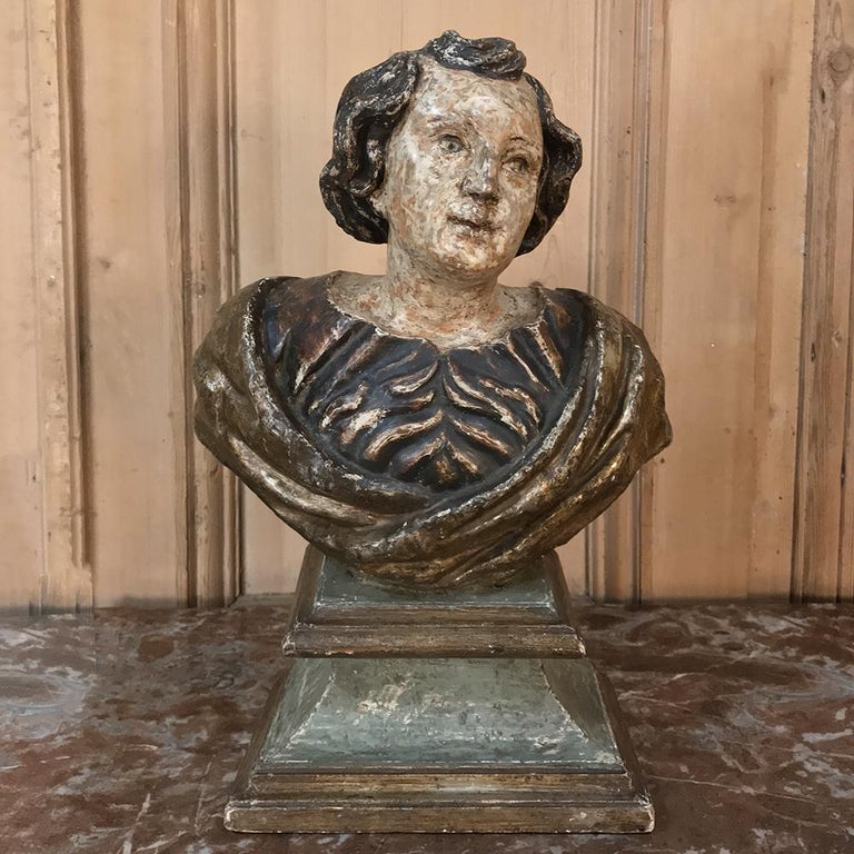 18th Century Italian Polychrome Bust of Saint In Good Condition For Sale In Dallas, TX