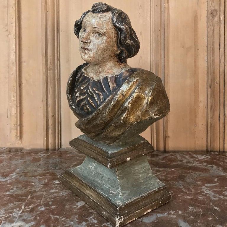 Hardwood 18th Century Italian Polychrome Bust of Saint For Sale