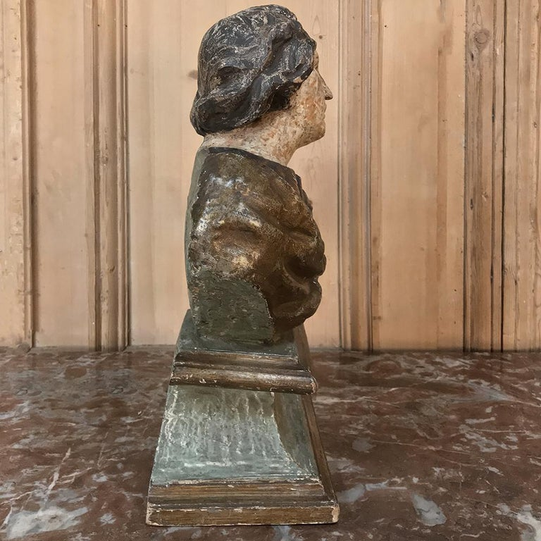 18th Century Italian Polychrome Bust of Saint For Sale 1