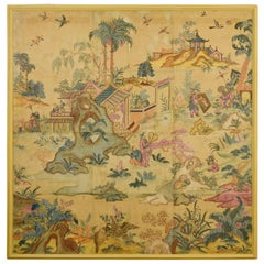 18th Century, Italian Polychrome Tempera on Paper Chinoiserie Painting